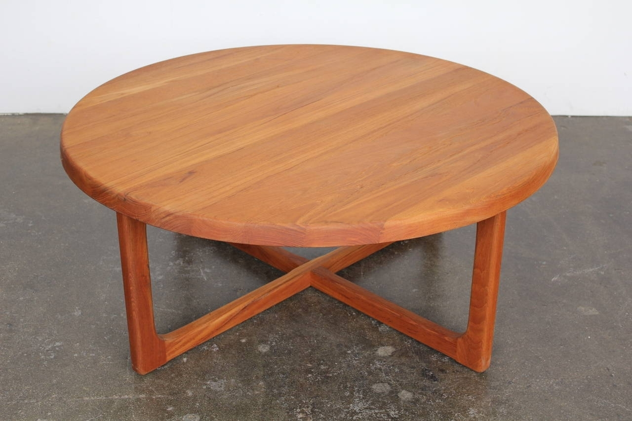Great Round Teak Coffee Table With Mid Century Large Round Solid inside Large Teak Coffee Tables (Image 7 of 30)