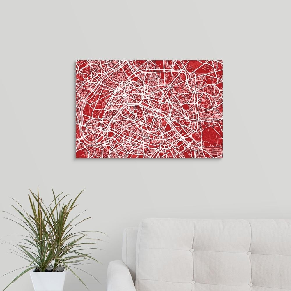 "Greatbigcanvas ""art Map Of Paris In Red""michael Tompsett Canvas within Map of Paris Wall Art (Image 4 of 20)"