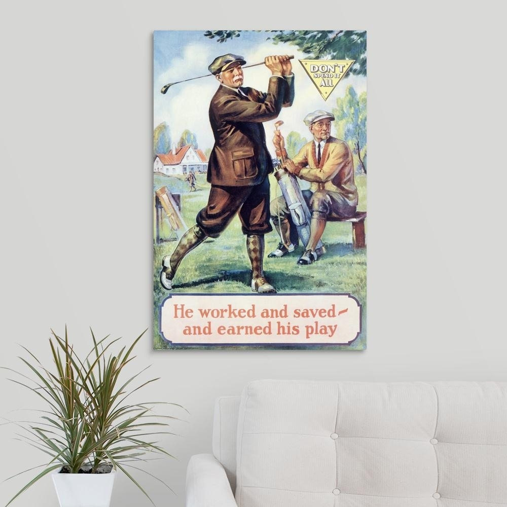 """Greatbigcanvas """"golf, Motivational , Vintage Poster""""great Big In Golf Canvas Wall Art (View 12 of 20)"""