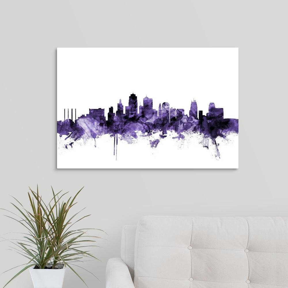 "Greatbigcanvas ""kansas City Skyline""michael Tompsett Canvas Wall with regard to Kansas City Wall Art (Image 3 of 20)"