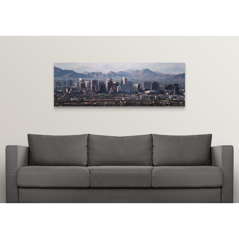 "Greatbigcanvas ""phoenix, Az Skyline – Panoramic""circle Capture Inside Panoramic Wall Art (View 12 of 20)"