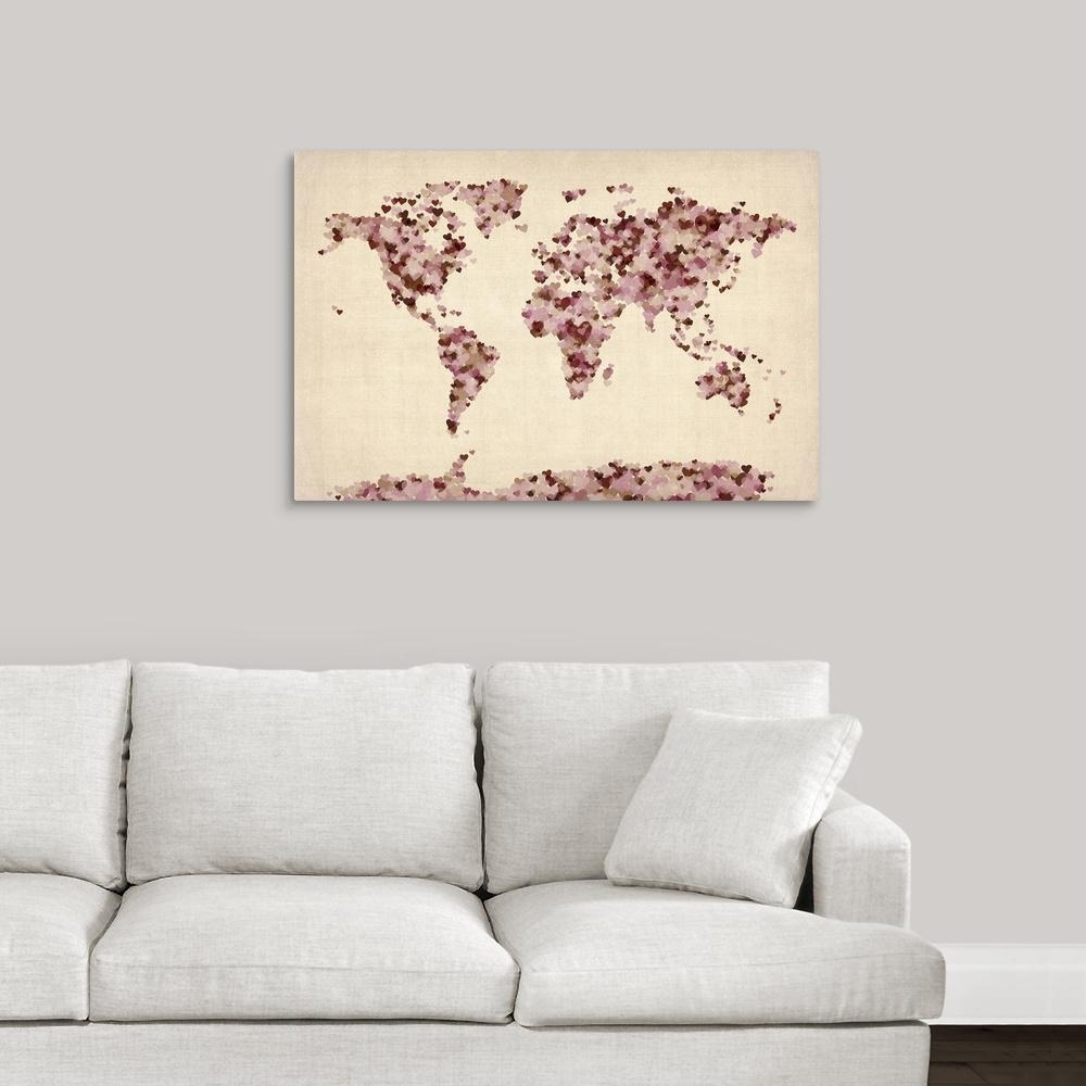 """Greatbigcanvas """"world Art Map Made Up Of Hearts""""michael Tompsett Within Wall Art Map Of World (View 8 of 20)"""