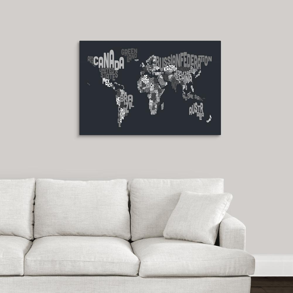"""Greatbigcanvas """"world Map Made Up Of Country Names""""michael with Map Wall Art (Image 4 of 20)"""