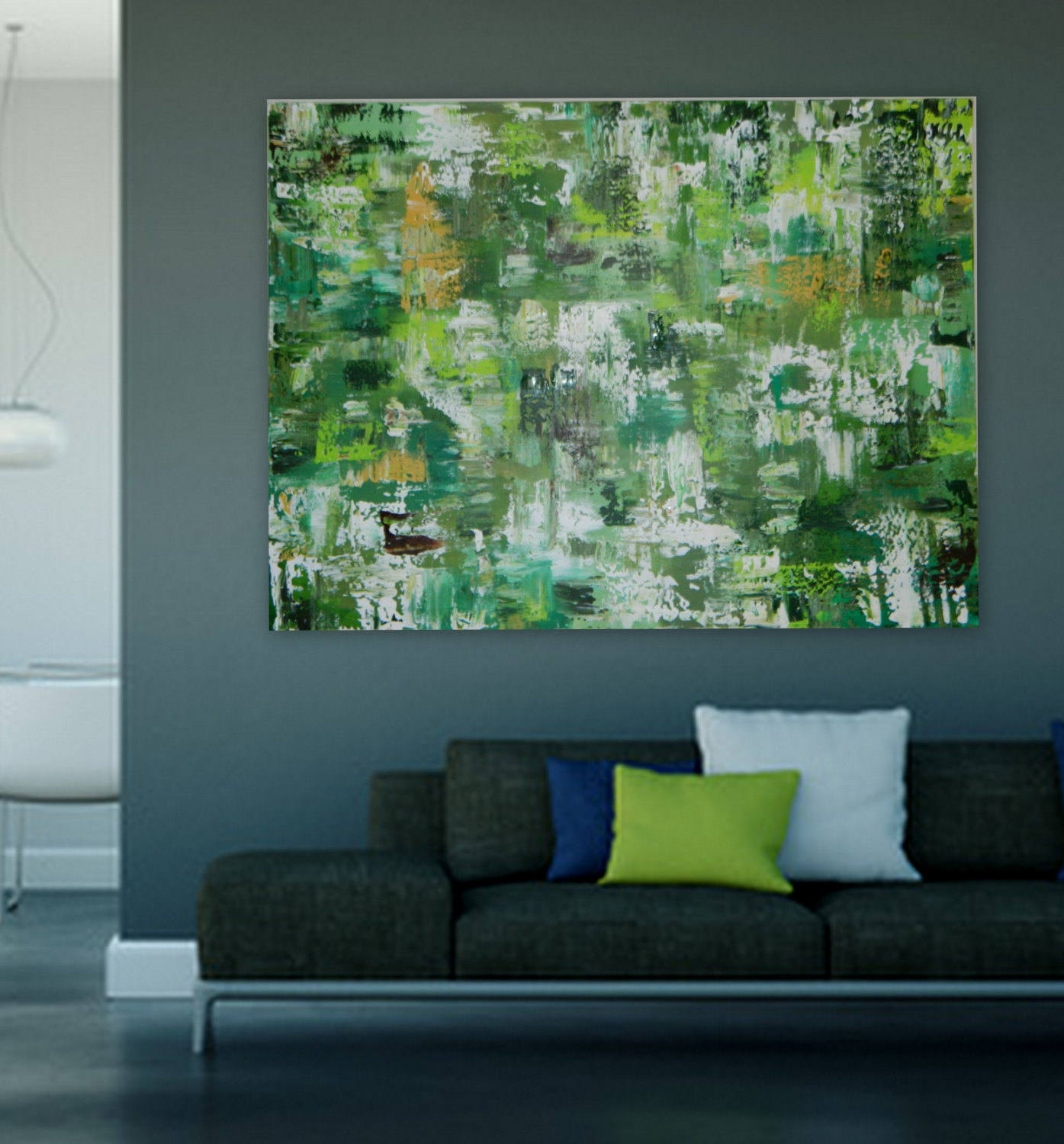 Green Abstract Painting Extra Large Painting Xl Xxl Modern Art Large Intended For Large Abstract Wall Art (View 10 of 20)