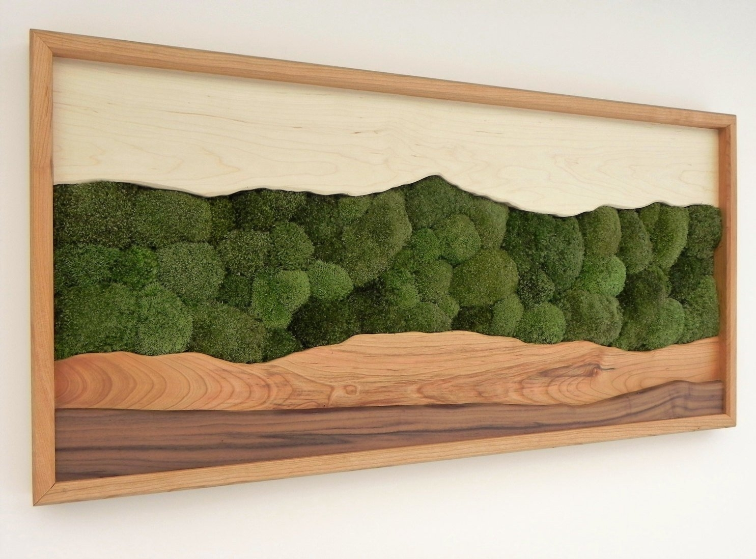 Green Mountain Moss Wall Art /sugar Maple, Cherry, Walnut, Preserved for Moss Wall Art (Image 5 of 20)