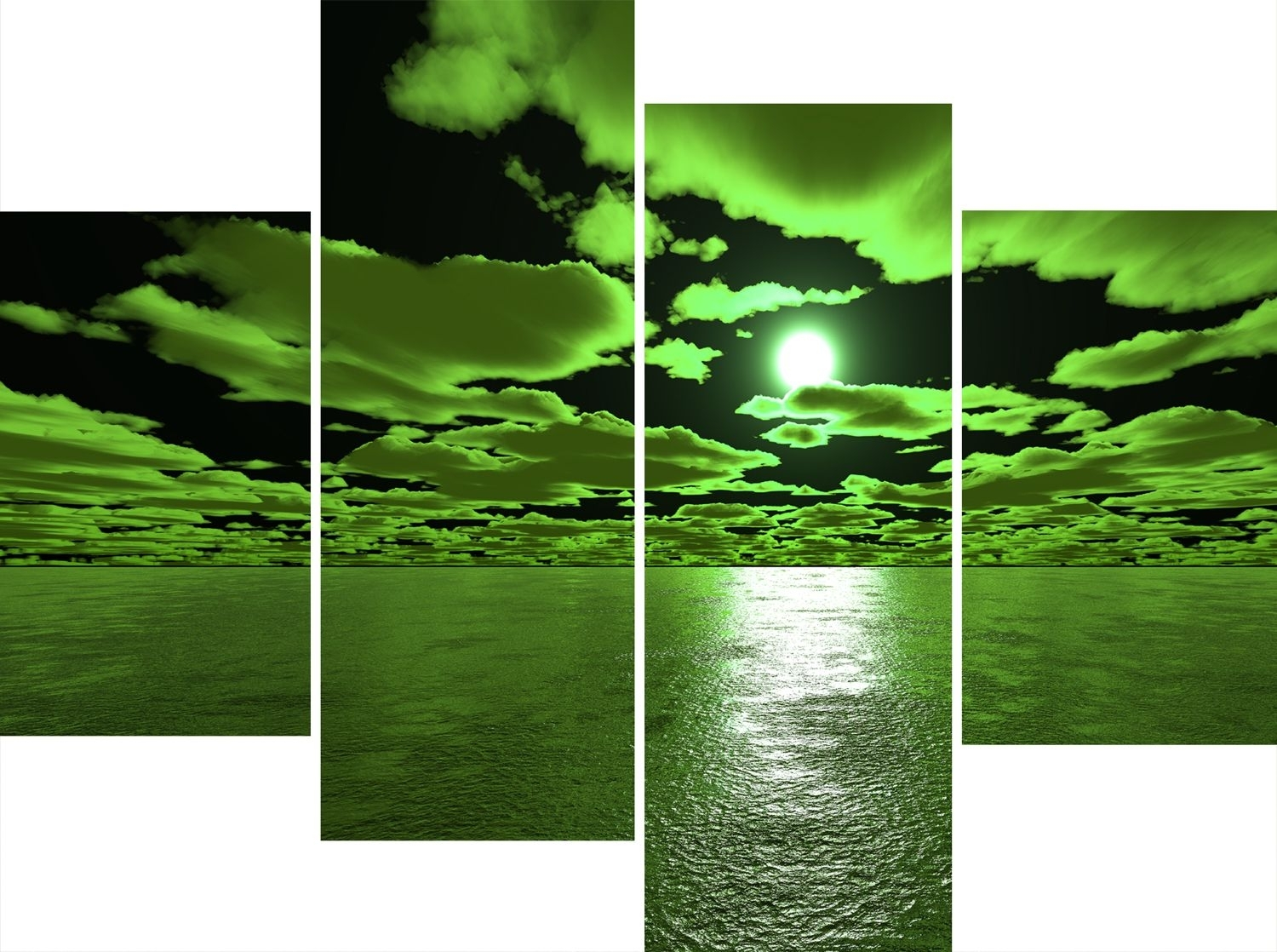 Green Wall Art Canvas Large 4 Panel Wall Art Set Green And Black Sea Pertaining To Green Wall Art (View 9 of 20)
