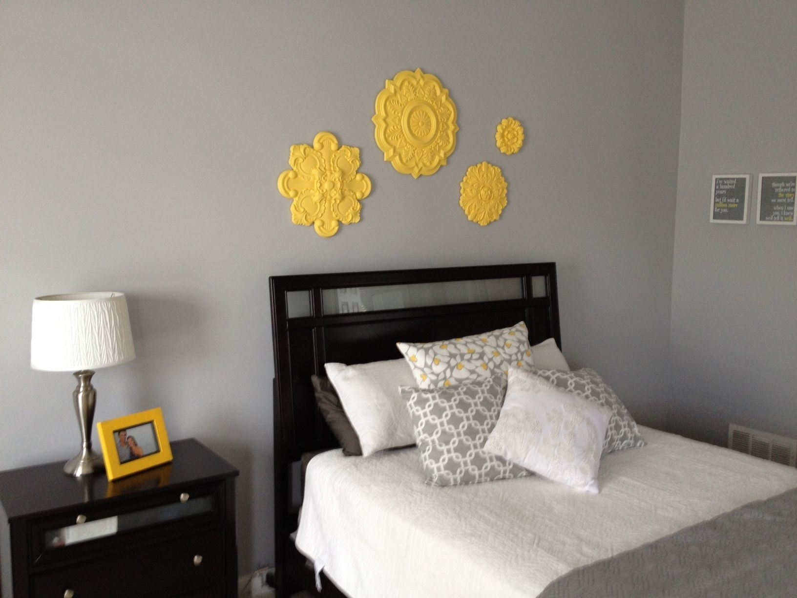 Grey And Yellow Toned Bedroom Ideas With Ceiling Medallion Wall Art with Ceiling Medallion Wall Art (Image 14 of 20)