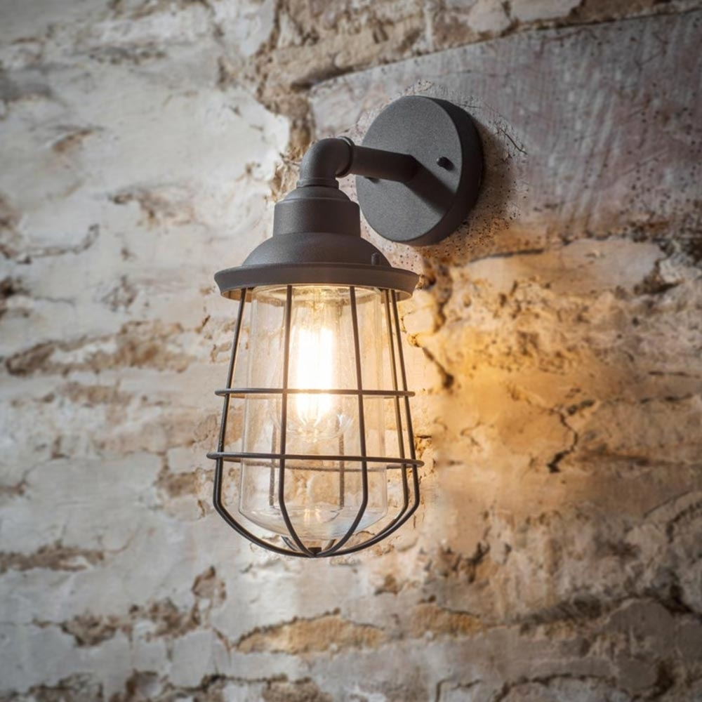 Grey Outdoor Cage Wall Light Cl-34839 | E2 Contract Lighting | Uk with regard to Outdoor Grey Lanterns (Image 6 of 20)
