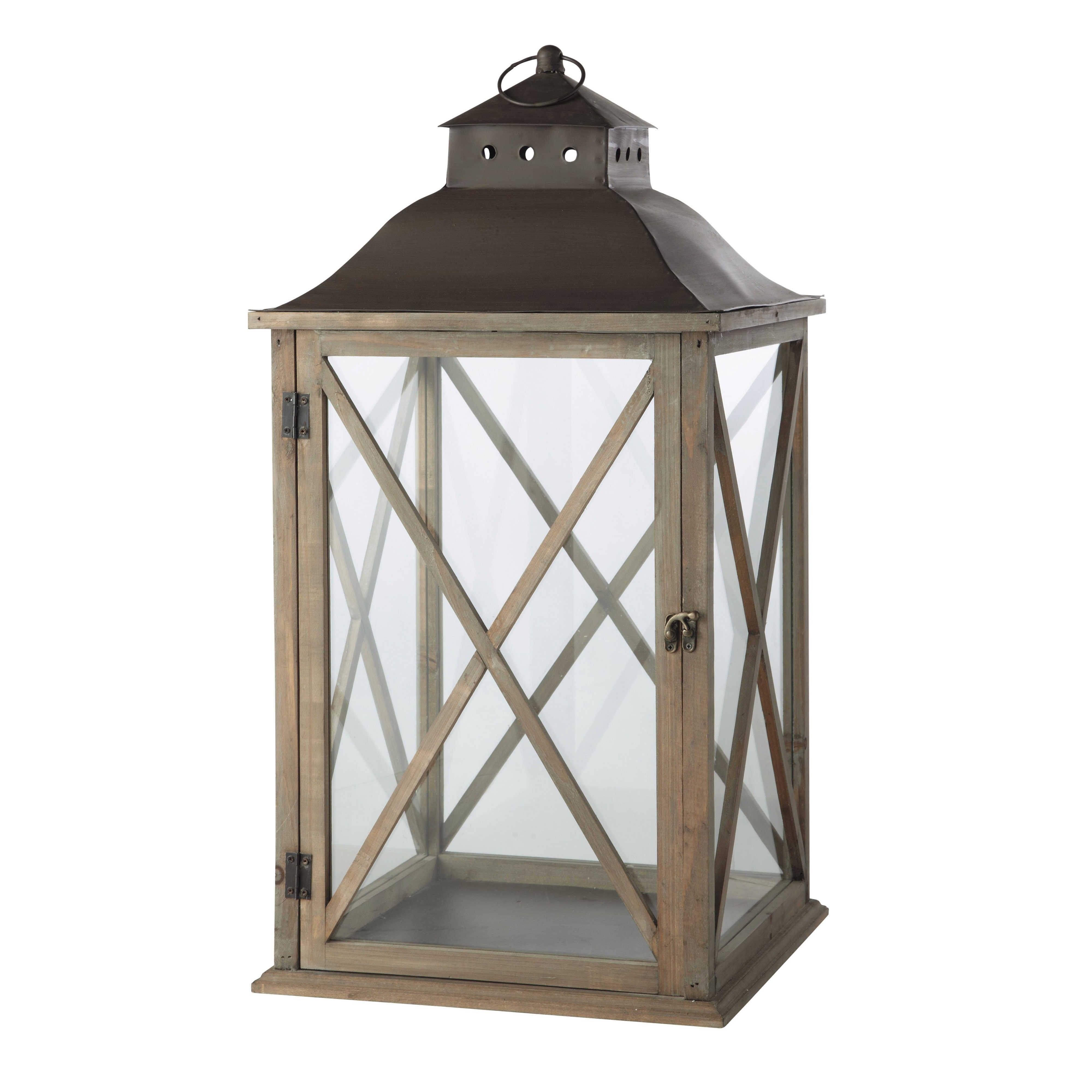 Grey Wood Garden Lantern H 72Cm | Garden Lanterns, Wood Gardens And pertaining to Outdoor Grey Lanterns (Image 7 of 20)