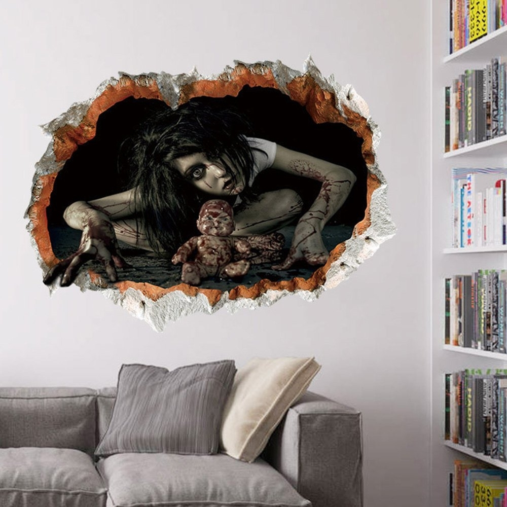 Halloween Zombie 3d Broken Wall Art Sticker For Bedroom In Black With Wall Art Stickers (View 20 of 20)