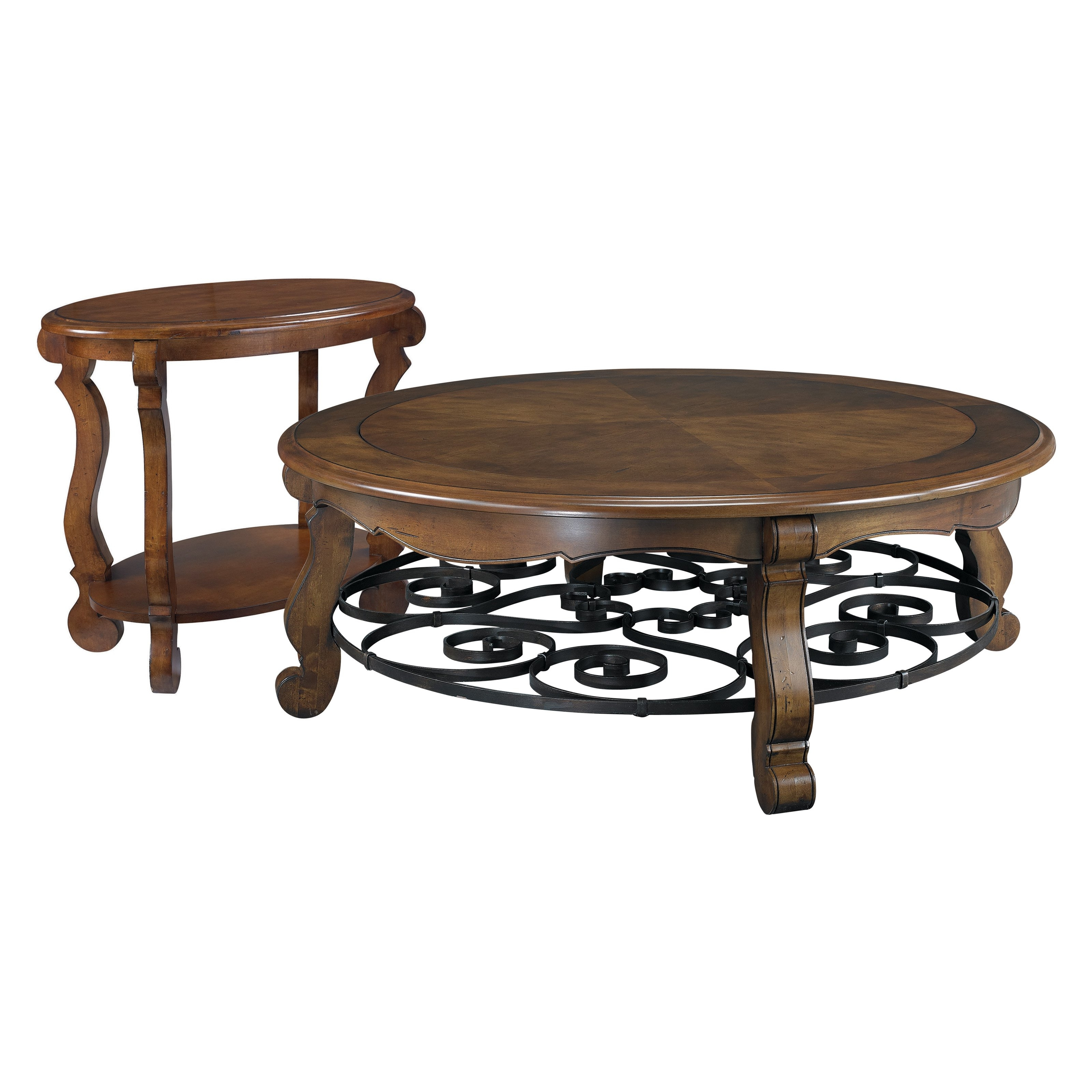Hammary Siena Round 2 Piece Glass Top Coffee Table Set | Round Pertaining To Smart Glass Top Coffee Tables (View 17 of 30)