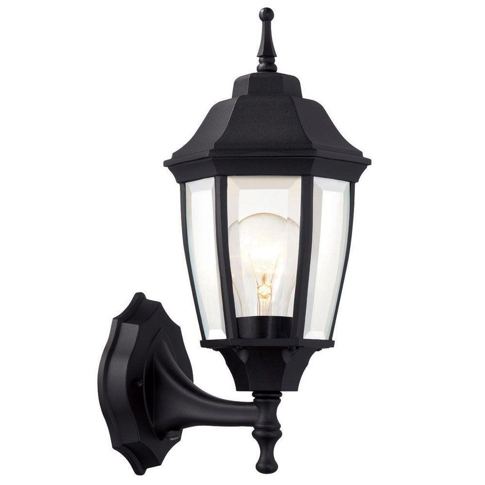Hampton Bay 1-Light Black Dusk-To-Dawn Outdoor Wall Lantern-Bpp1611 intended for Outdoor Wall Lanterns (Image 6 of 20)
