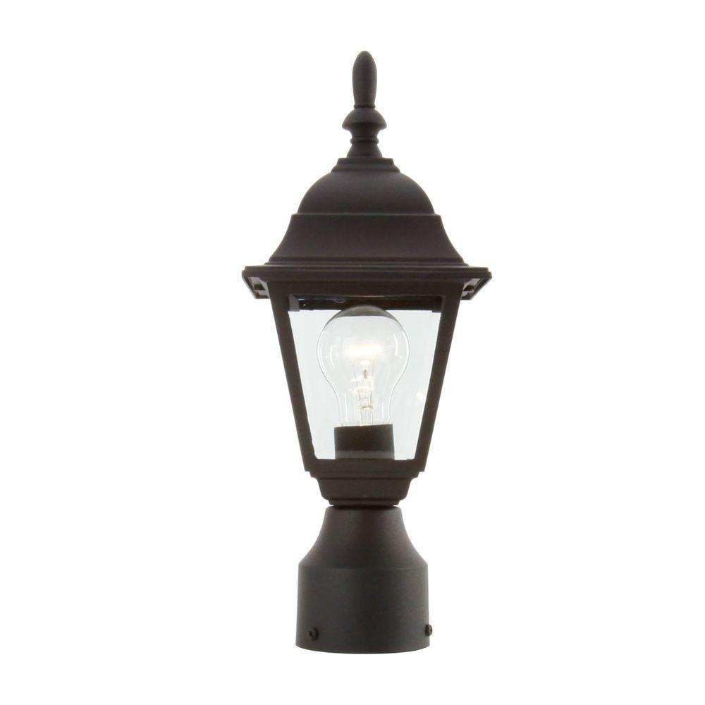 Hampton Bay 1-Light Black Outdoor Lamp-Hb7026P-05 - The Home Depot with regard to Outdoor Lamp Lanterns (Image 6 of 20)