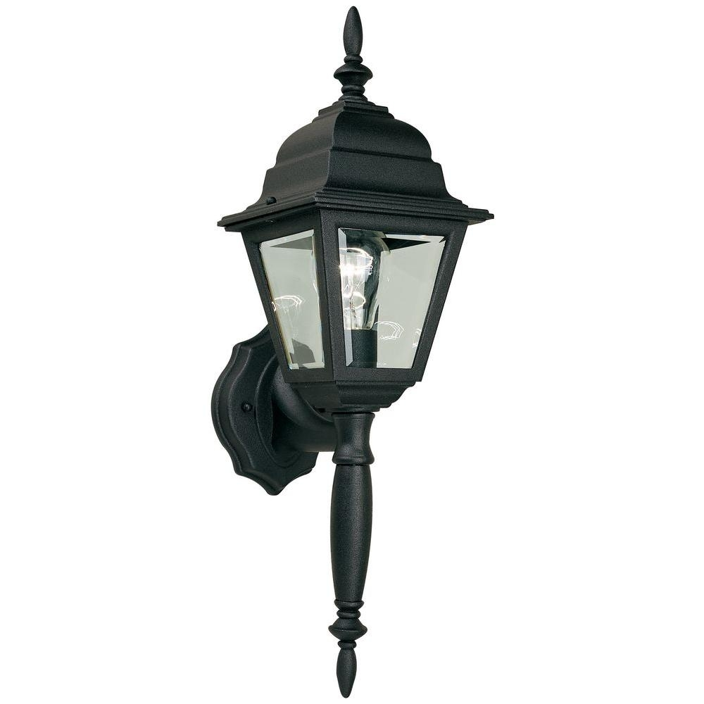 Hampton Bay 1-Light Black Outdoor Wall Lamp-Hb7023P-05 - The Home Depot within Waterproof Outdoor Lanterns (Image 7 of 20)