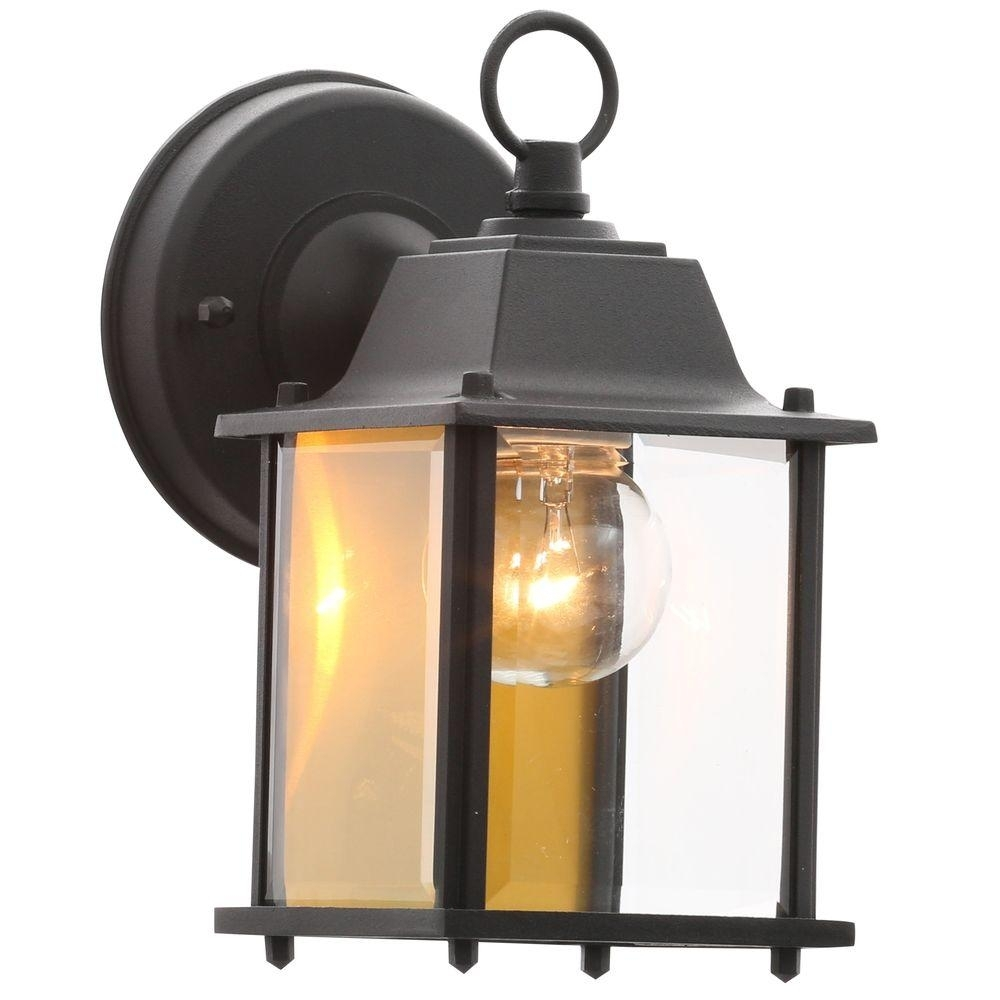 Hampton Bay 1-Light Black Outdoor Wall Lantern-Bpm1691-Blk - The in Outdoor Lanterns (Image 8 of 20)