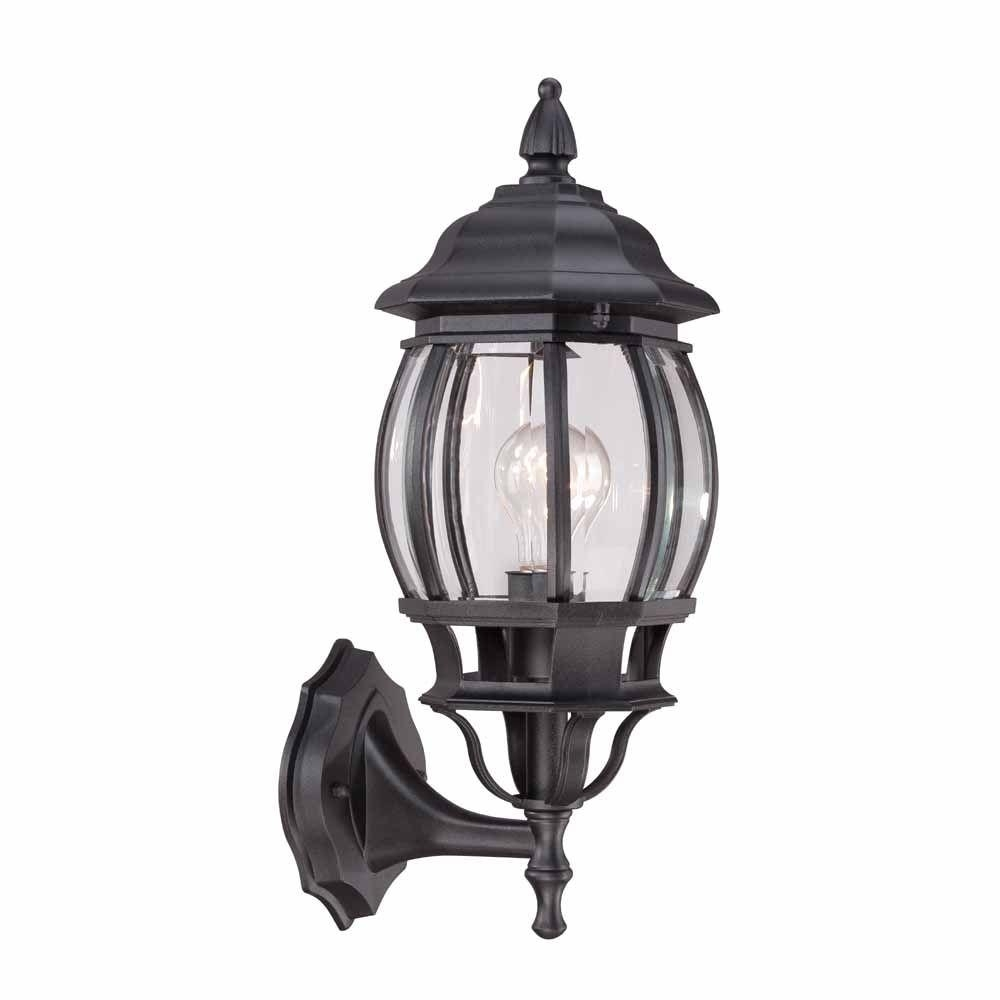 Hampton Bay 1-Light Black Outdoor Wall Lantern-Hb7027-05 - The Home inside Outdoor Grey Lanterns (Image 8 of 20)