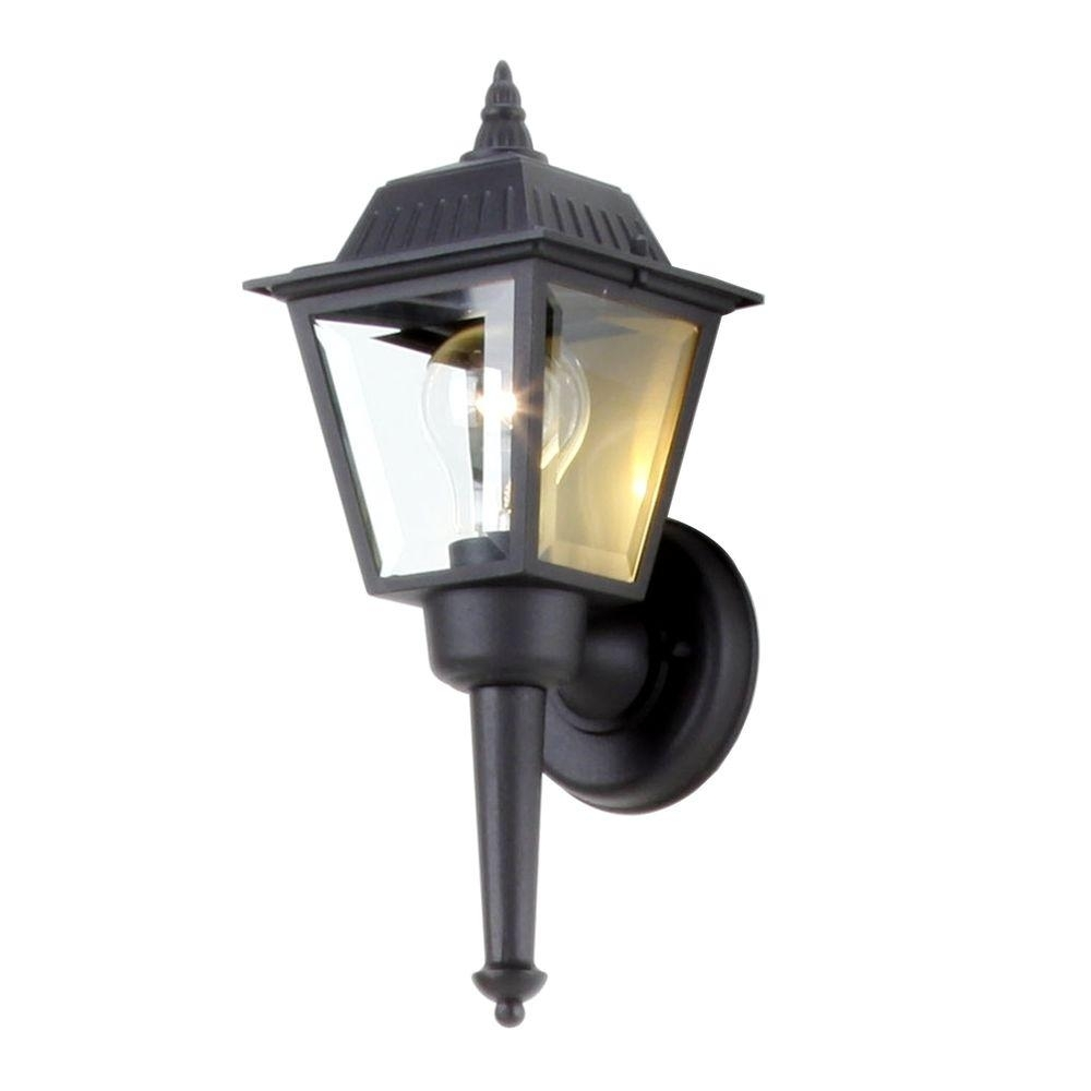 Hampton Bay 1-Light Black Outdoor Wall Mount Lantern-Bpl1611-Blk within Outdoor Vinyl Lanterns (Image 3 of 20)
