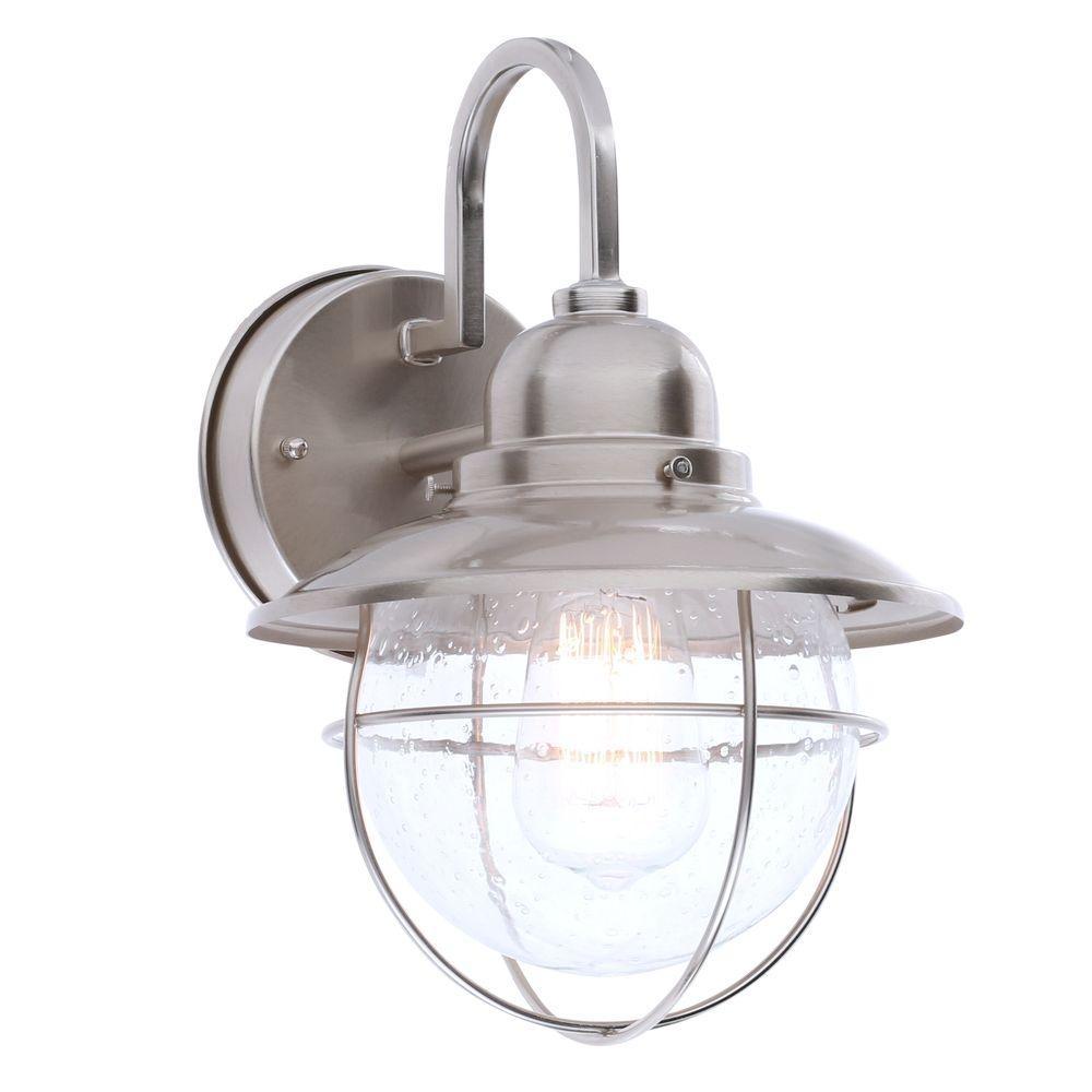 Hampton Bay 1-Light Brushed Nickel Outdoor Cottage Lantern-Boa1691H regarding Outdoor Empty Lanterns (Image 6 of 20)