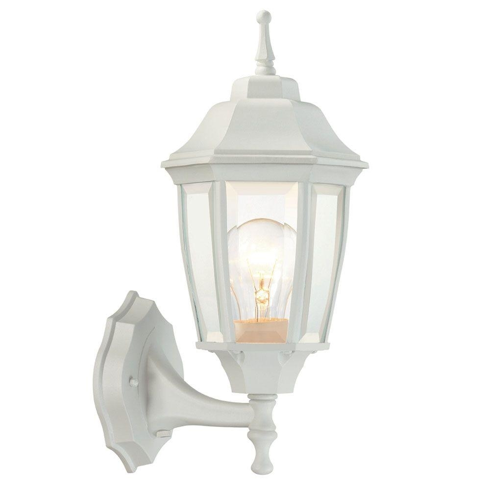 Hampton Bay 1 Light White Outdoor Dusk To Dawn Wall Lantern Bpp1611 Intended For White Outdoor Lanterns (View 4 of 20)
