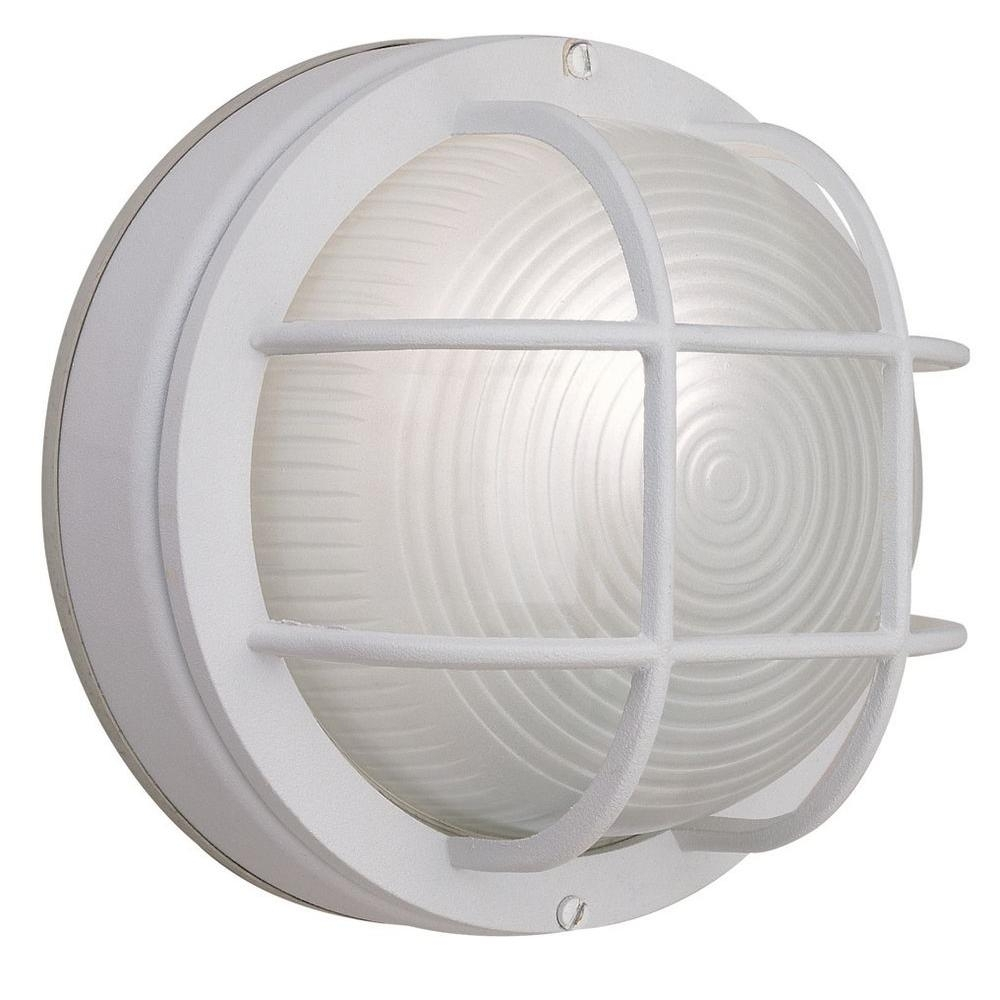 Hampton Bay 1-Light White Outdoor Round Wall Bulkhead Light-Hb8824P intended for Outdoor Round Lanterns (Image 7 of 20)