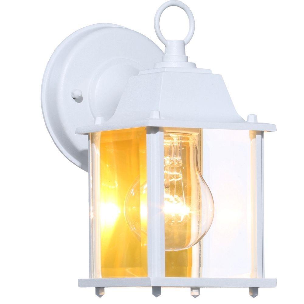 Hampton Bay 1-Light White Outdoor Wall Lantern-Bpm1691-Wht - The inside Yellow Outdoor Lanterns (Image 12 of 20)