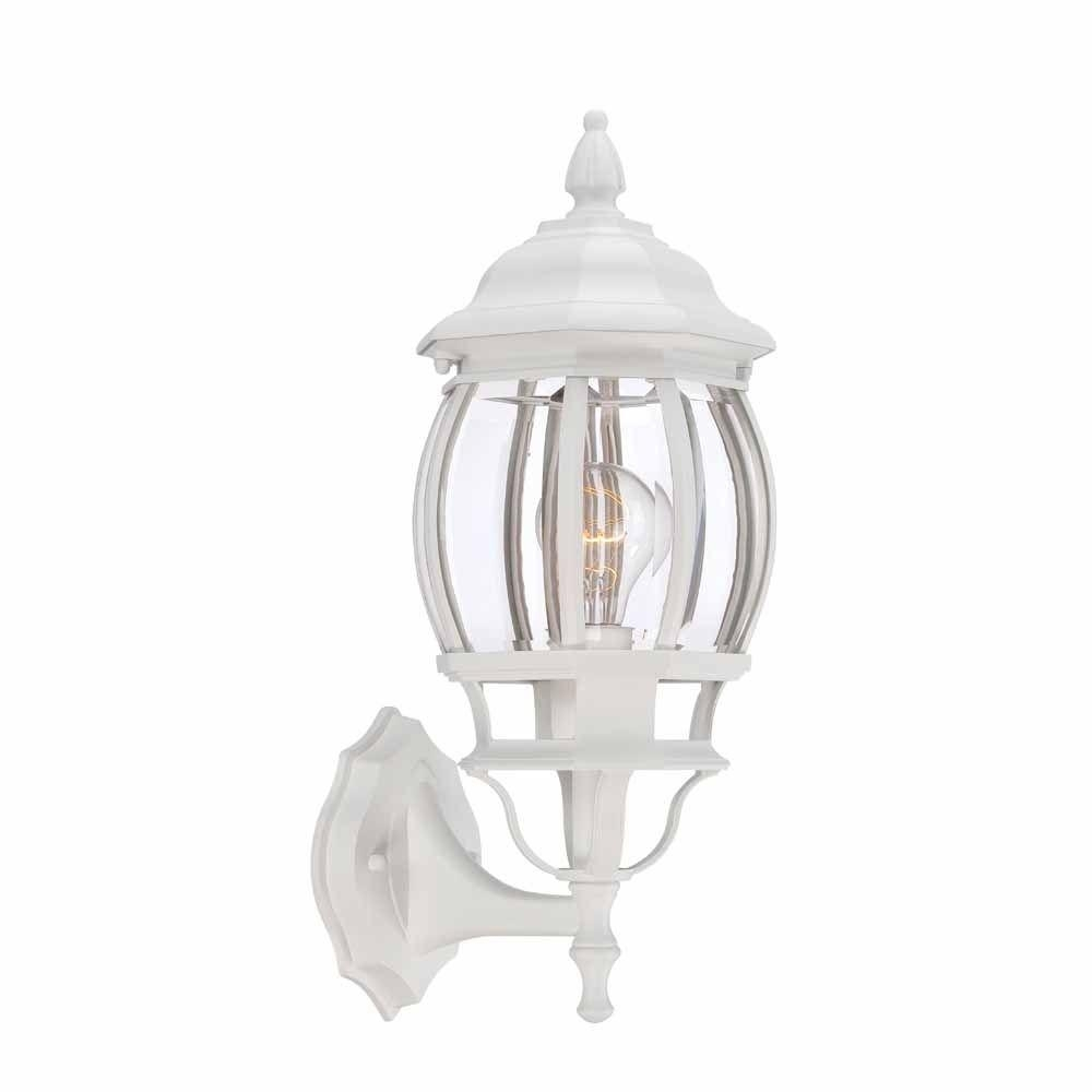 Hampton Bay 1 Light White Outdoor Wall Lantern Hb7027 06 – The Home Pertaining To White Outdoor Lanterns (View 2 of 20)