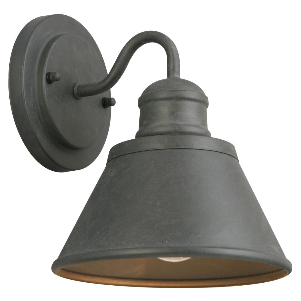 Hampton Bay 1-Light Zinc Outdoor Wall Lantern-Hsp1691A - The Home Depot intended for Wall Mounted Outdoor Lanterns (Image 4 of 20)