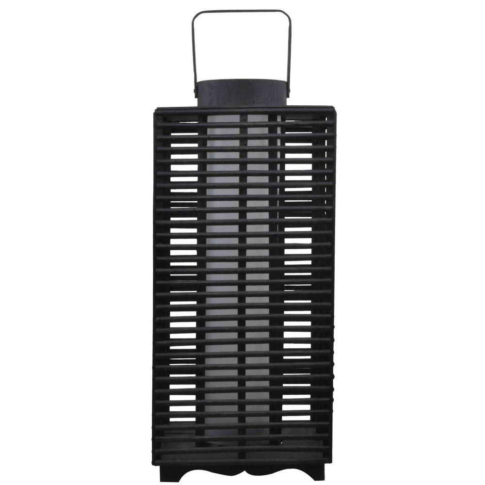 Hampton Bay 18 In. Solar And Battery Powered Black Outdoor in Outdoor Rattan Lanterns (Image 6 of 20)