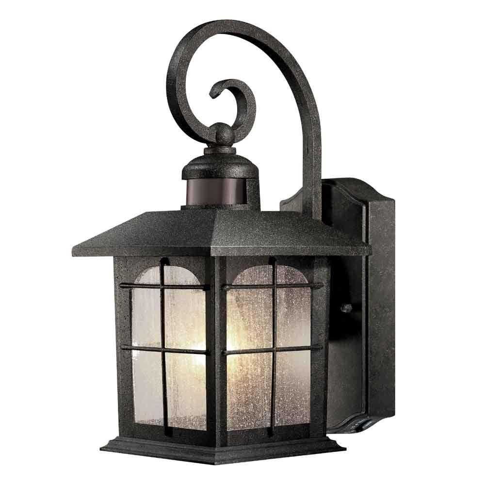 Hampton Bay 180 Degree 1 Light Aged Iron Outdoor Motion Sensing Wall Throughout Outdoor Iron Lanterns (View 7 of 20)