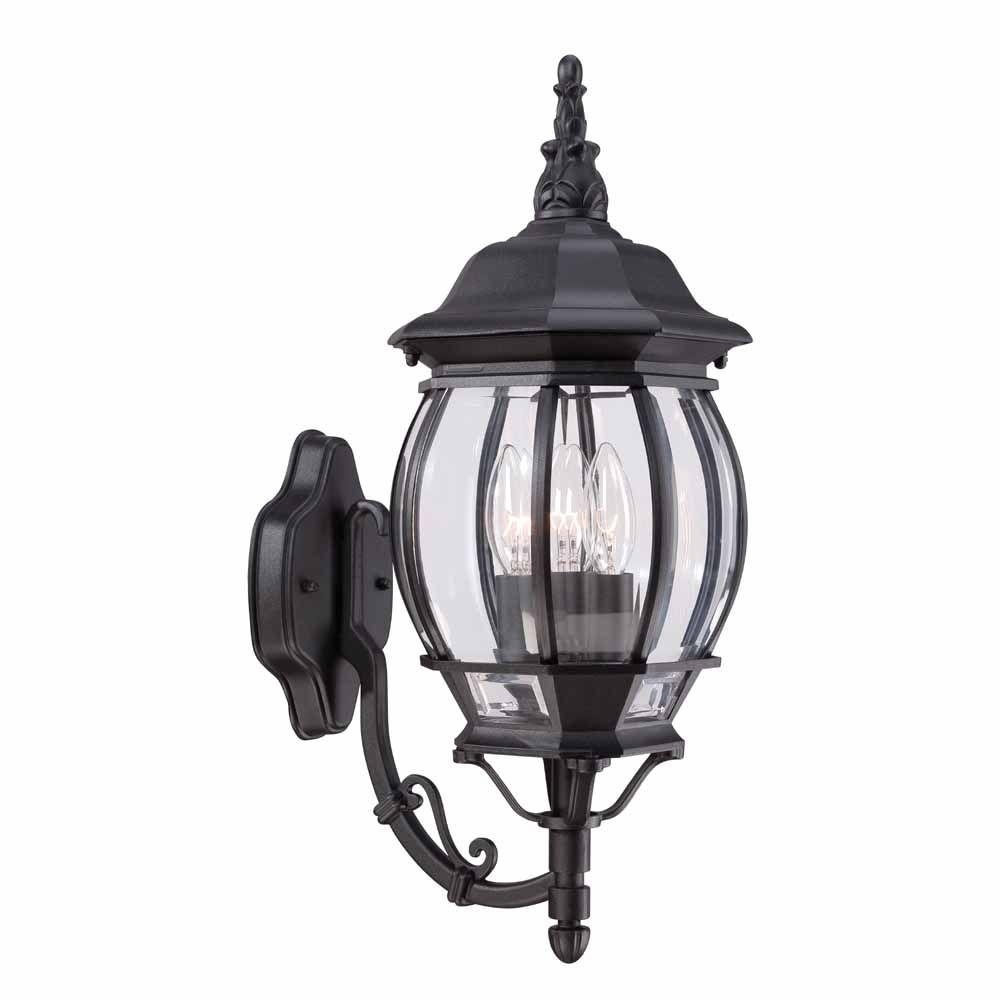 Hampton Bay 3-Light Black Outdoor Wall Mount Lantern-Hb7028-05 - The within Wall Mounted Outdoor Lanterns (Image 5 of 20)