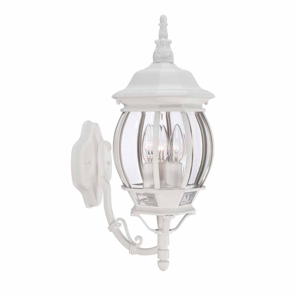 Hampton Bay 3 Light White Outdoor Wall Lantern Hb7028 06 – The Home In White Outdoor Lanterns (View 10 of 20)