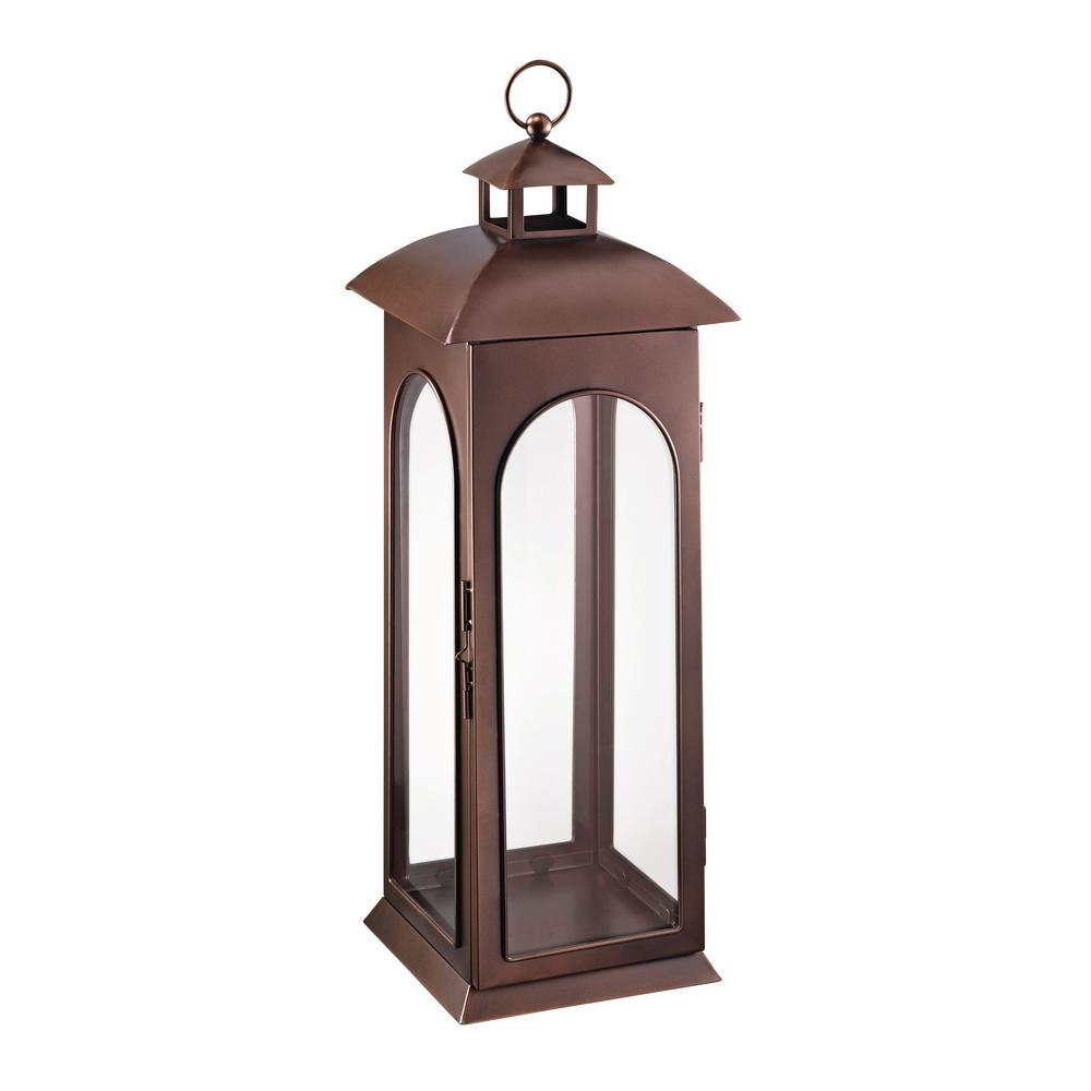 Hampton Bay 30 In. Metal Lantern In Copper-Hd16009Xl - The Home Depot in Xl Outdoor Lanterns (Image 11 of 20)