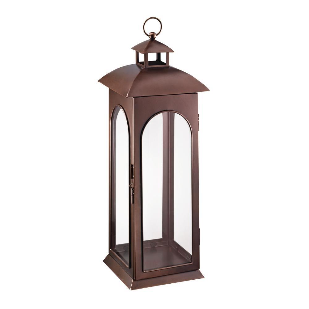 Hampton Bay 30 In. Metal Lantern In Copper-Hd16009Xl - The Home Depot with Outdoor Luminara Lanterns (Image 4 of 20)