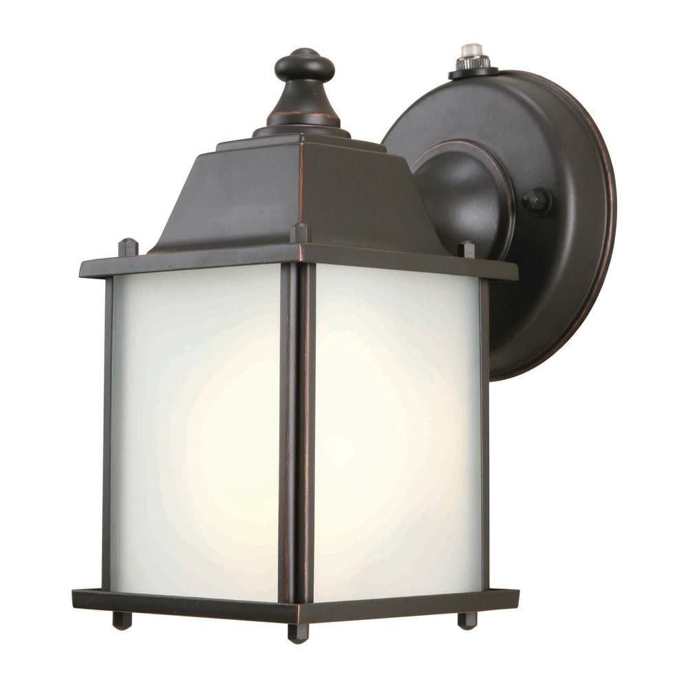 Hampton Bay 393810 Wall Mount 1 Light Outdoor Lantern Oil Rubbed with regard to Wall Mounted Outdoor Lanterns (Image 6 of 20)