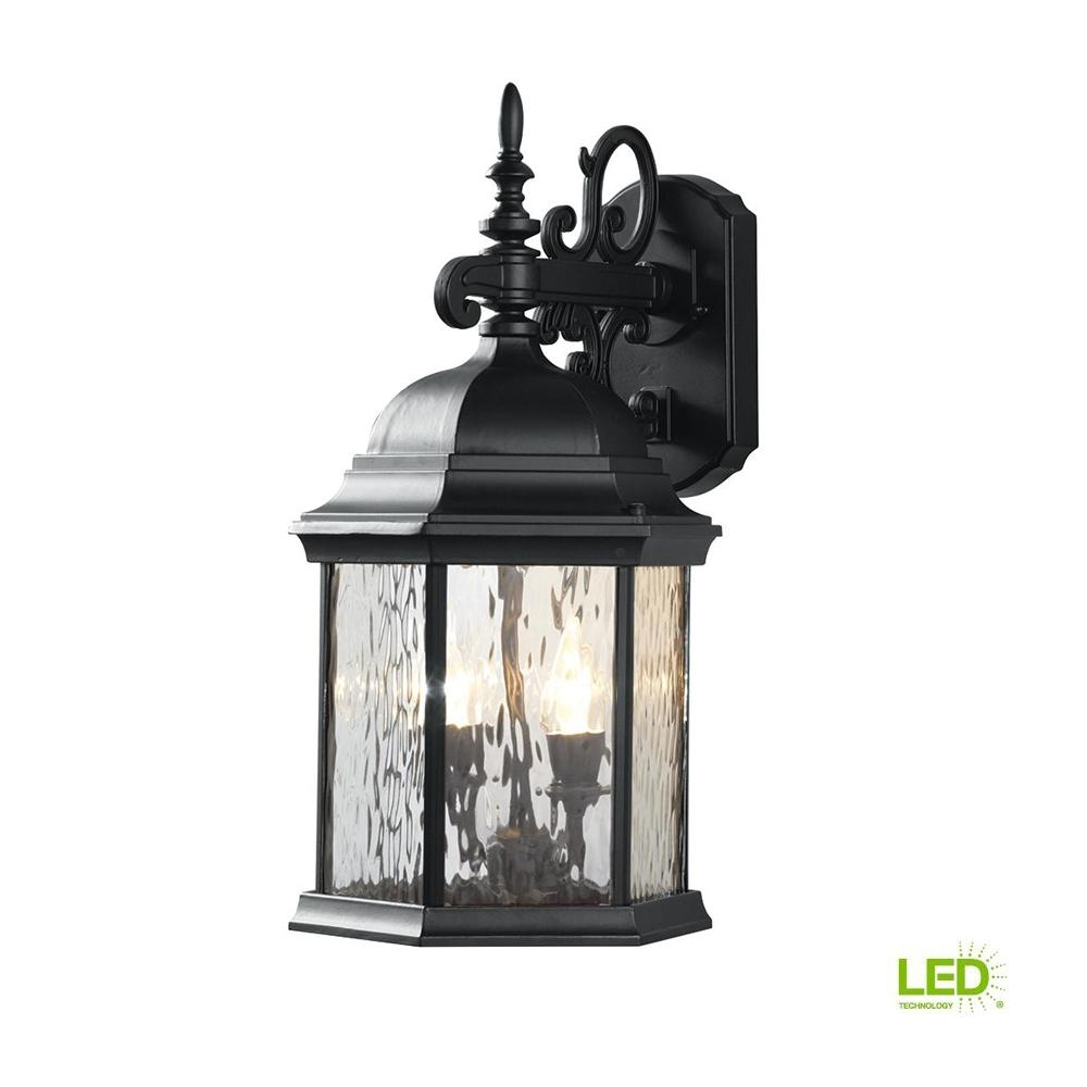 Hampton Bay 9.5 In. 2-Light Oil-Rubbed Bronze Led Decorative Water inside Outdoor Lanterns Without Glass (Image 11 of 20)