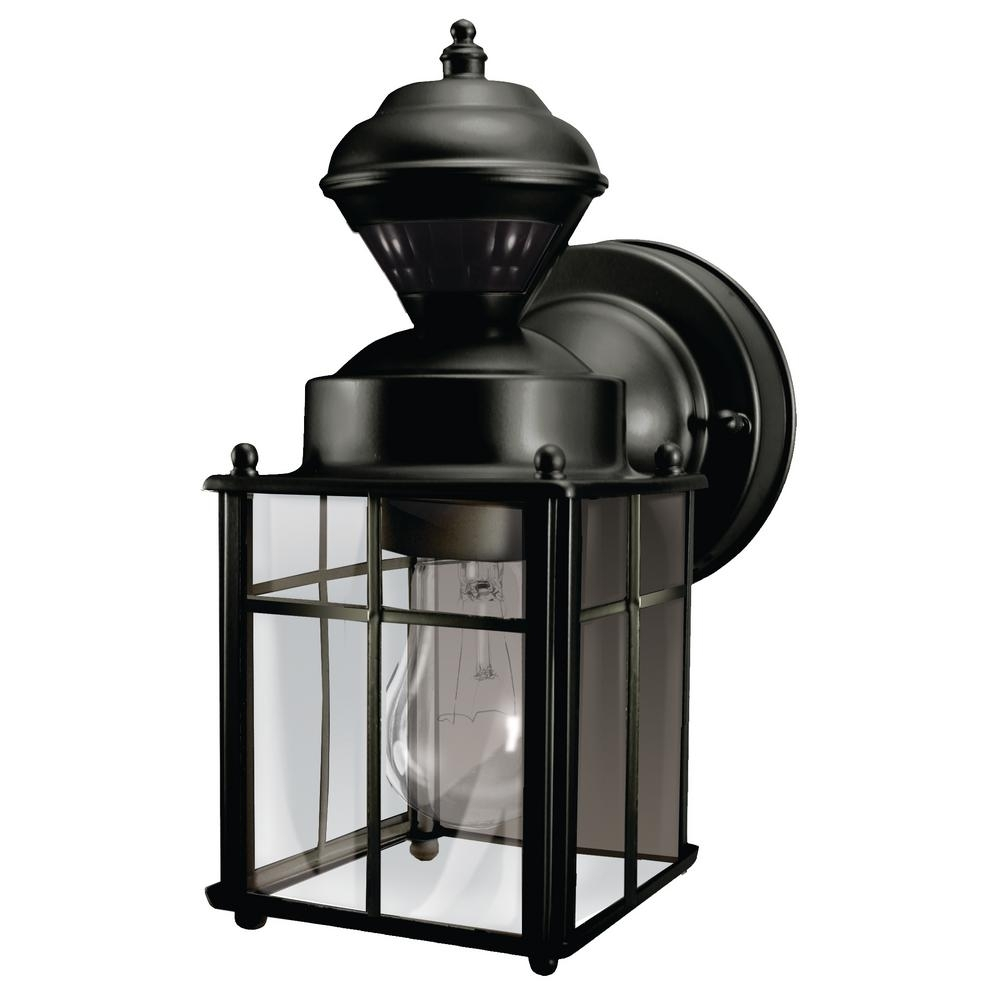 Hampton Bay Bayside Mission 150 Degree Black Motion-Sensing Outdoor inside Outdoor Grey Lanterns (Image 9 of 20)