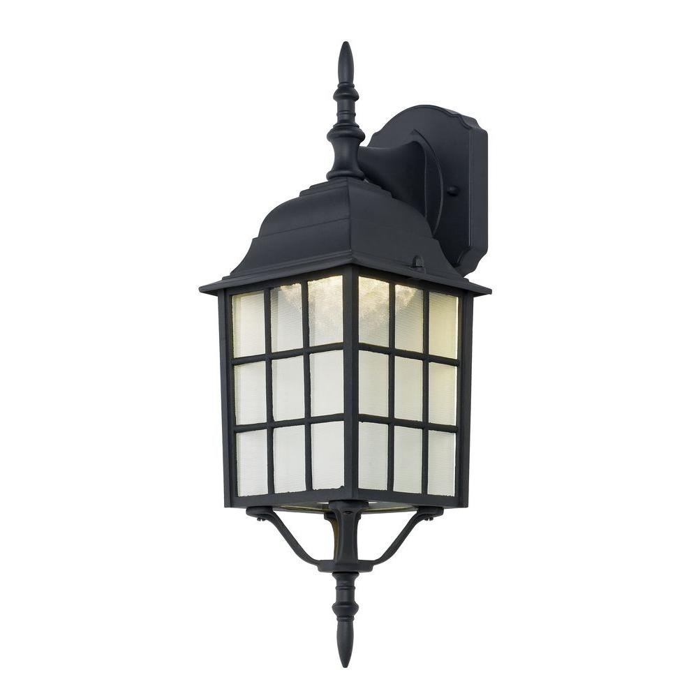 Hampton Bay Black Outdoor Led Wall Lantern 4420 1bk Led – The Home Depot Inside Outdoor Lanterns With Led Lights (View 12 of 20)
