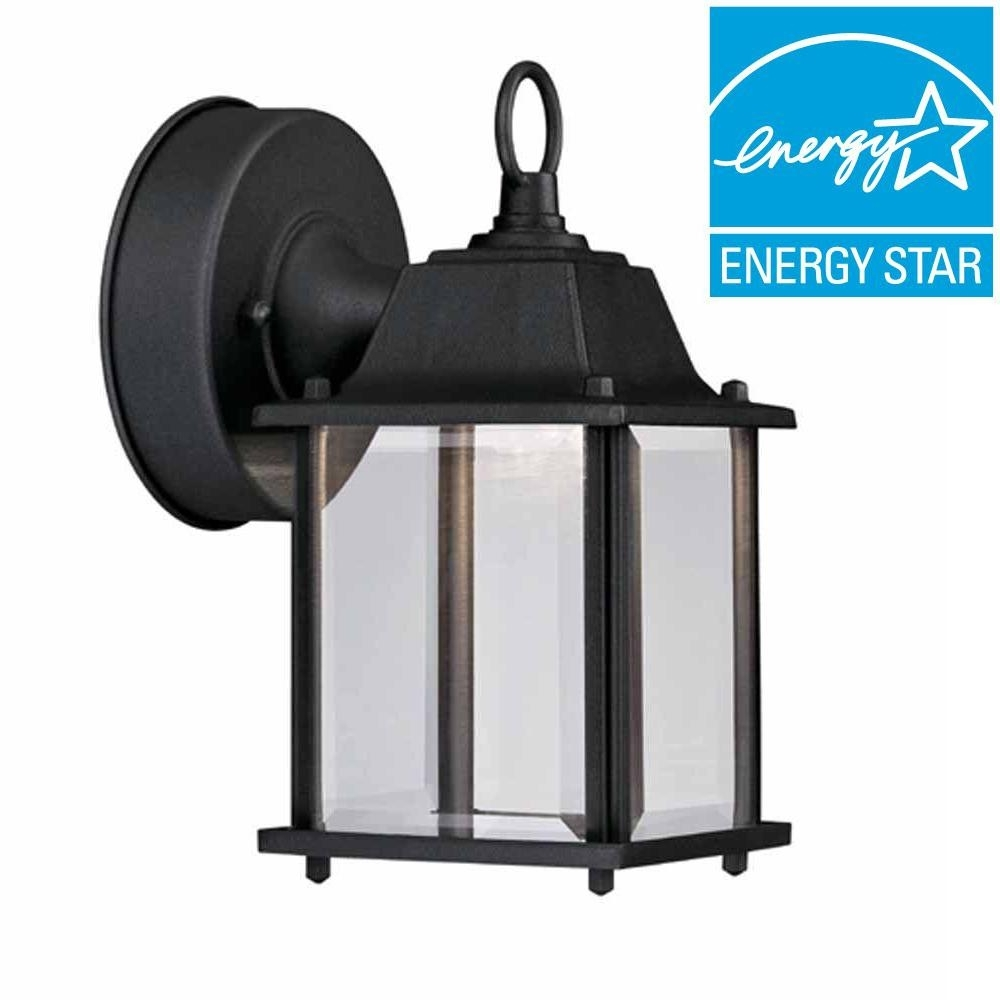 Hampton Bay Black Outdoor Led Wall Lantern Hb7002 05 – The Home Depot Inside Outdoor Lanterns With Led Lights (View 2 of 20)