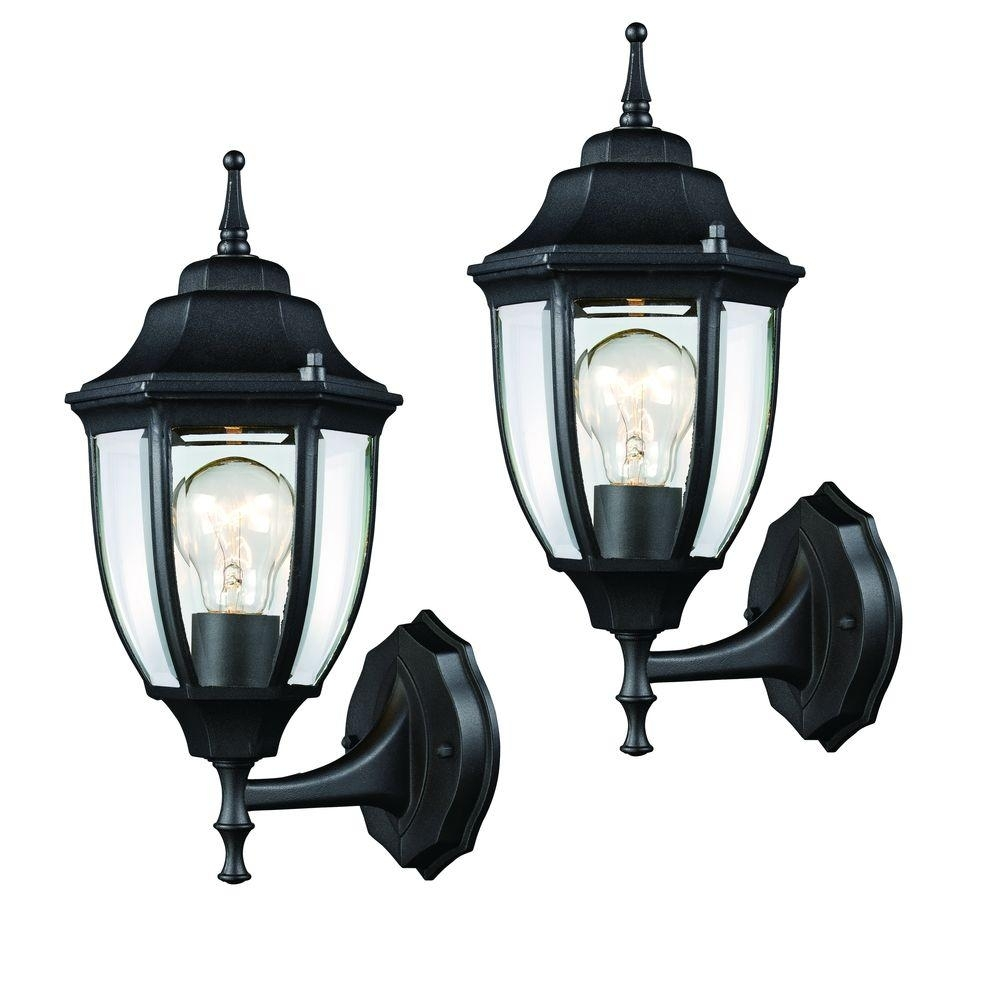 Hampton Bay Black Outdoor Wall Lantern (2 Pack) Hd 4470T Bk – The Within Outdoor Weather Resistant Lanterns (View 6 of 20)