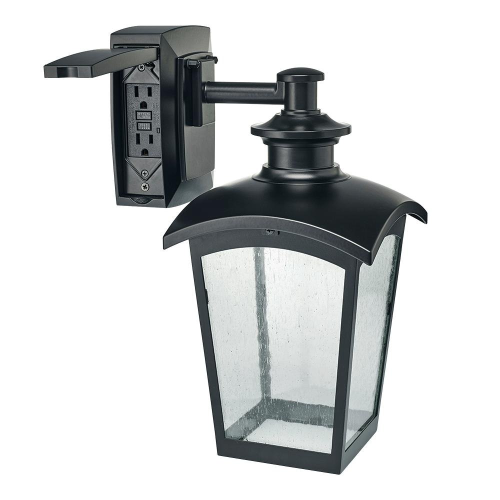 Hampton Bay Die Cast Exterior Lantern With Gfci Black Md-31343 - The for Outdoor Exterior Lanterns (Image 5 of 20)