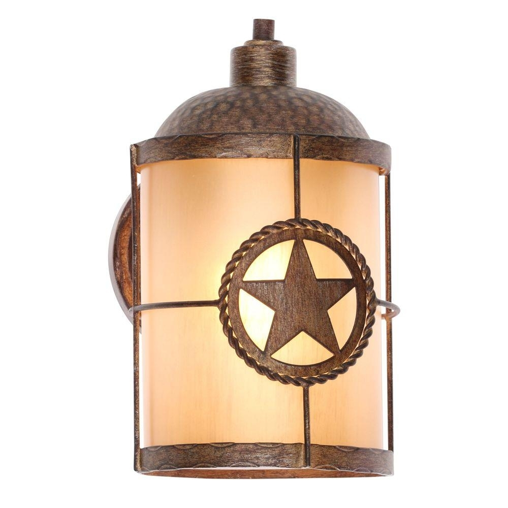 Hampton Bay Lone Star 1-Light Desert Sands Outdoor Wall Mount in Yellow Outdoor Lanterns (Image 13 of 20)