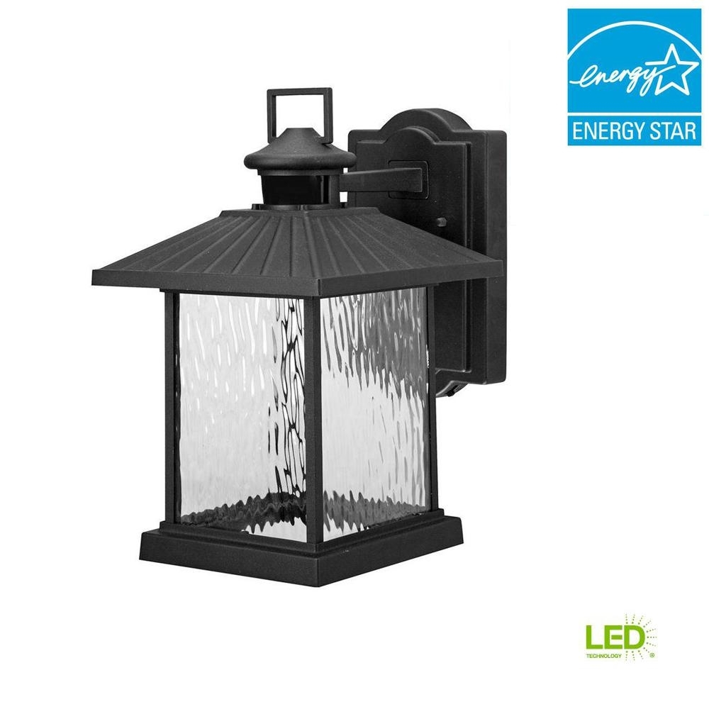 Hampton Bay Lumsden Outdoor Black Led Motion Sensor Wall Mount in Outdoor Gazebo Lanterns (Image 10 of 20)