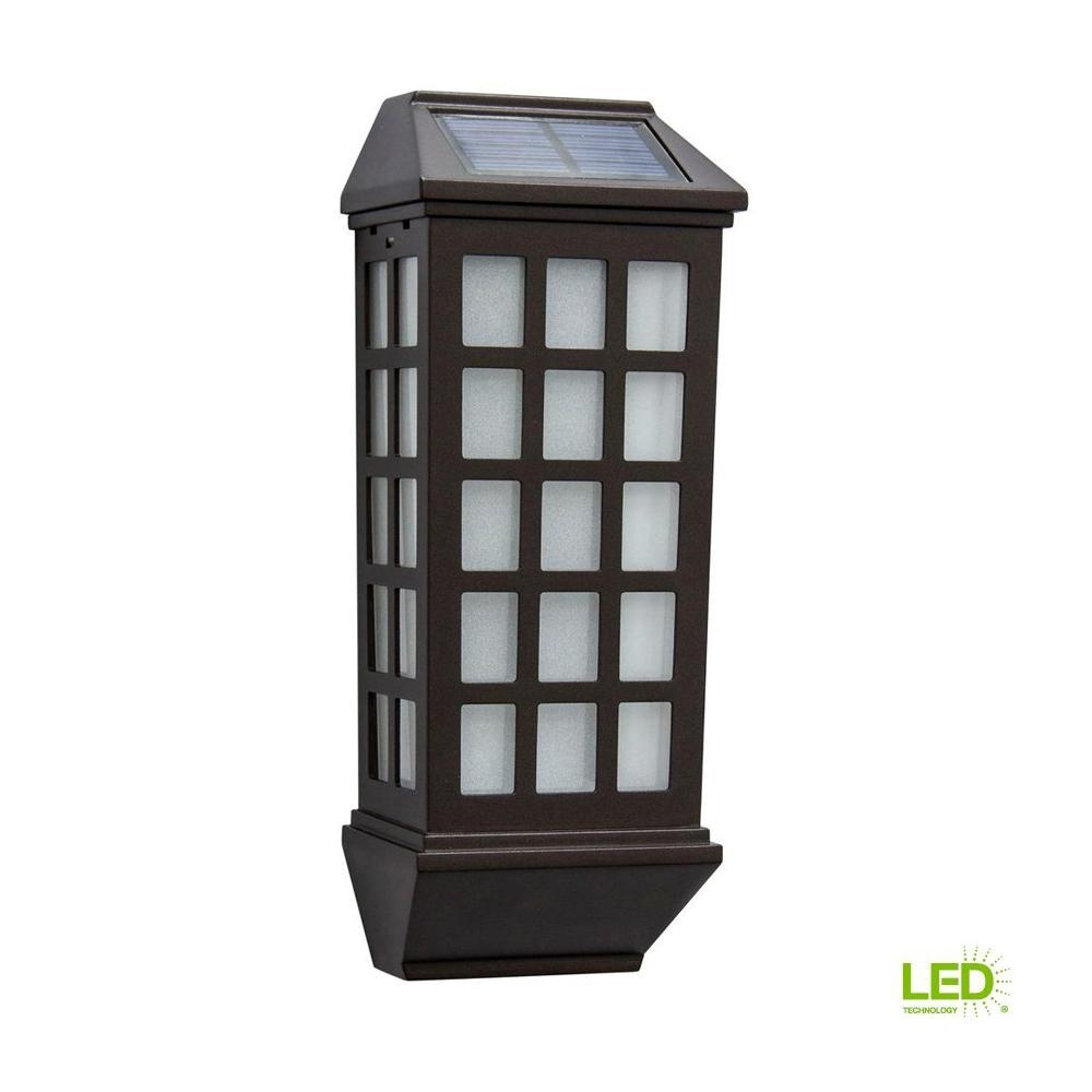 Hampton Bay Mission Style Bronze Outdoor Integrated Led Solar Deck Regarding Outdoor Lanterns For Deck (View 19 of 20)