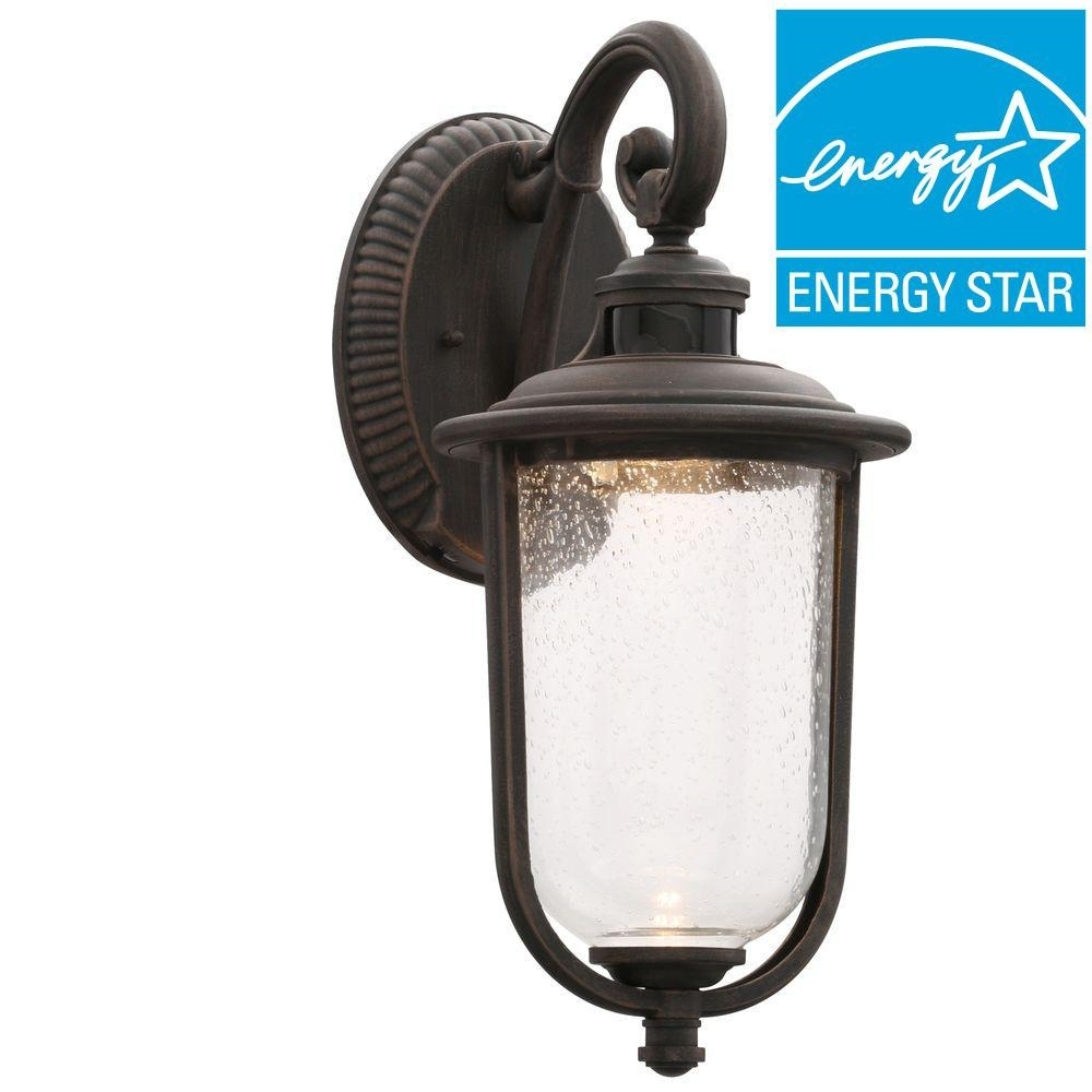 Hampton Bay Outdoor Wall Mounted Lighting The Rust Lanterns Sconces intended for Outdoor Lanterns And Sconces (Image 11 of 20)