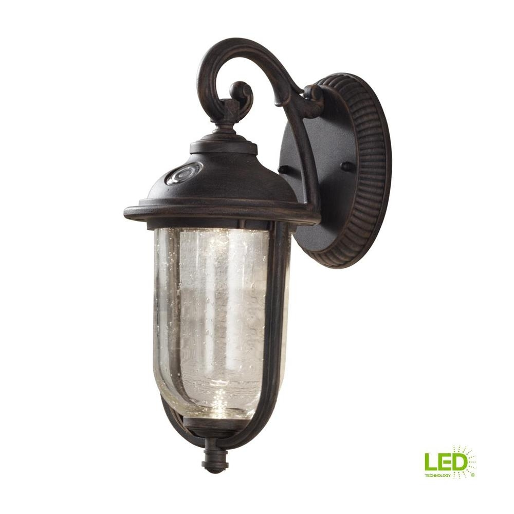Hampton Bay Perdido Rustic Bronze Outdoor Integrated Led 6 In. Wall pertaining to Outdoor Lanterns With Photocell (Image 3 of 20)