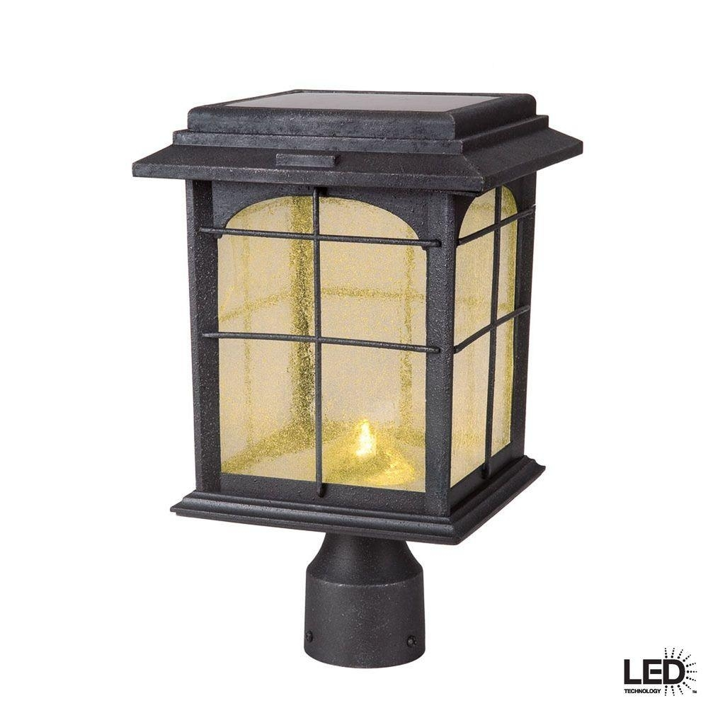 Hampton Bay Solar Outdoor Hand-Painted Sanded Iron Post Lantern With with regard to Outdoor Post Lanterns (Image 5 of 20)