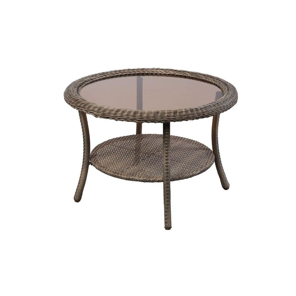 Hampton Bay Spring Haven Grey Round Wicker Outdoor Patio Coffee with regard to Haven Coffee Tables (Image 13 of 30)