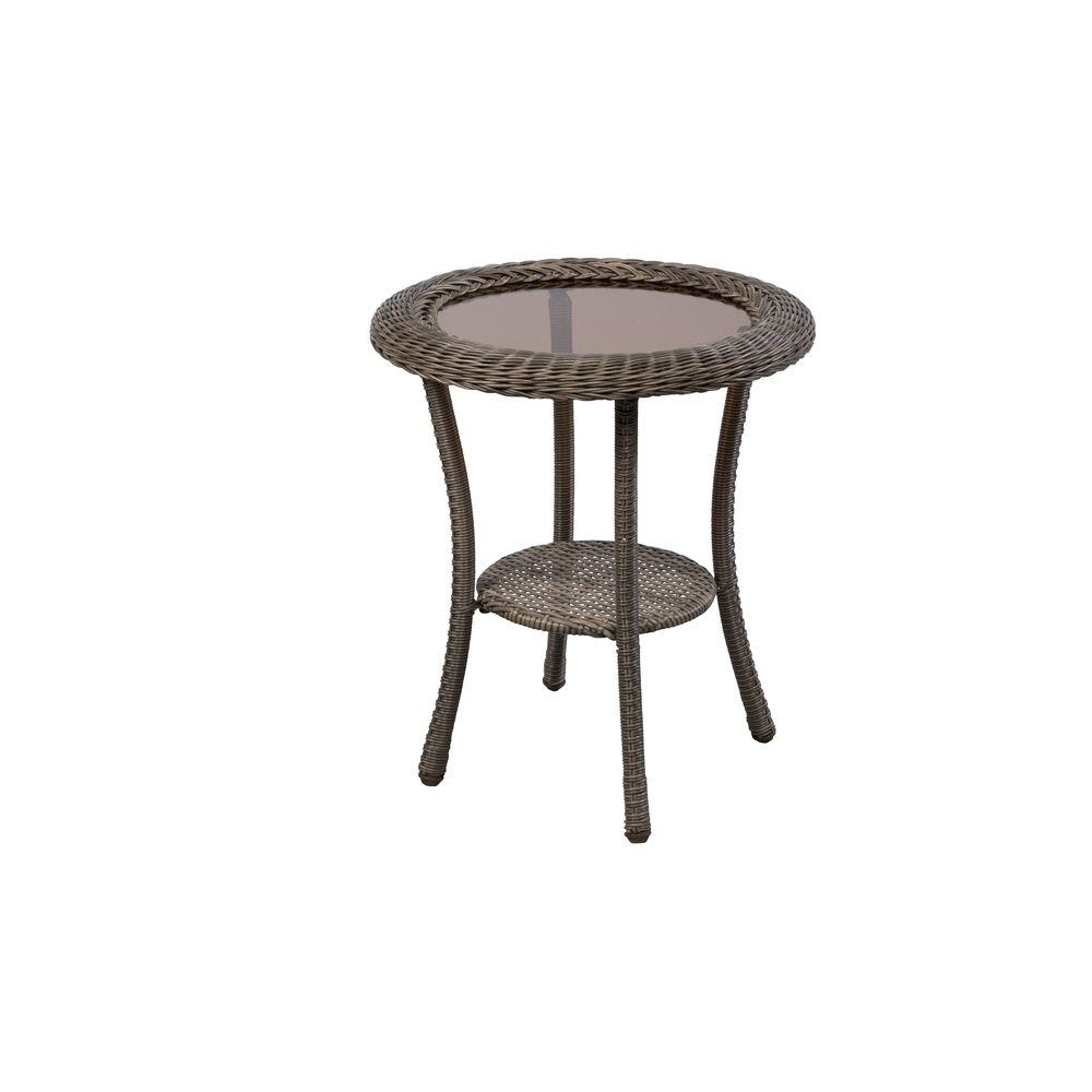 Hampton Bay Spring Haven Grey Round Wicker Outdoor Patio Side Table with Haven Coffee Tables (Image 14 of 30)