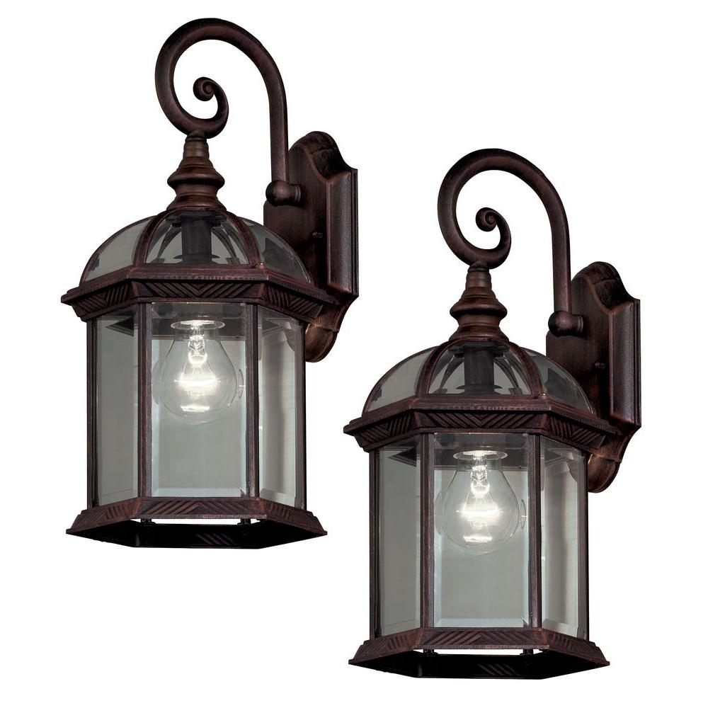 Hampton Bay Twin Pack 1-Light Weathered Bronze Outdoor Lantern-7072 throughout Outdoor Exterior Lanterns (Image 6 of 20)