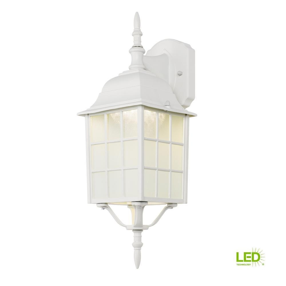 Hampton Bay White Outdoor Led Wall Lantern 4420 1Wht Led – The Home In Inexpensive Outdoor Lanterns (View 6 of 20)